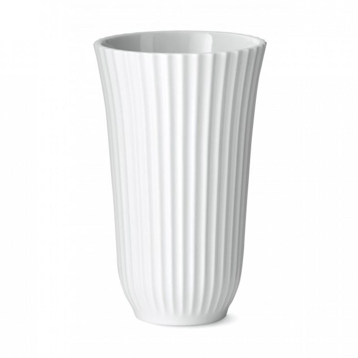 LYNGBY Trompet vasen 18 cm klar hvid porcelæn