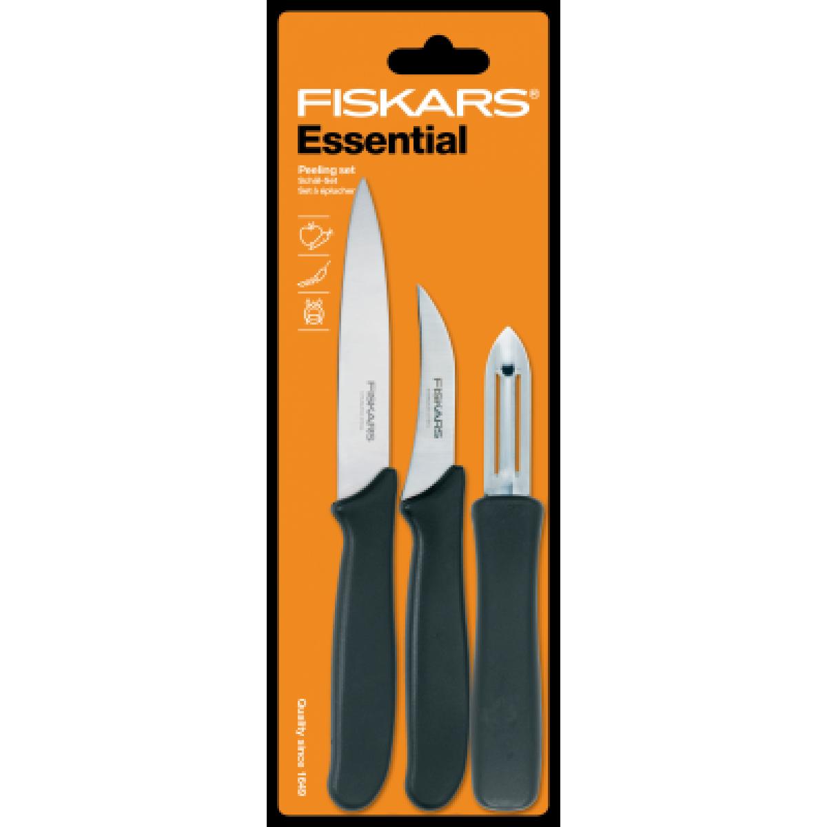FISKARS 3 dele skrælle / urte knivsæt