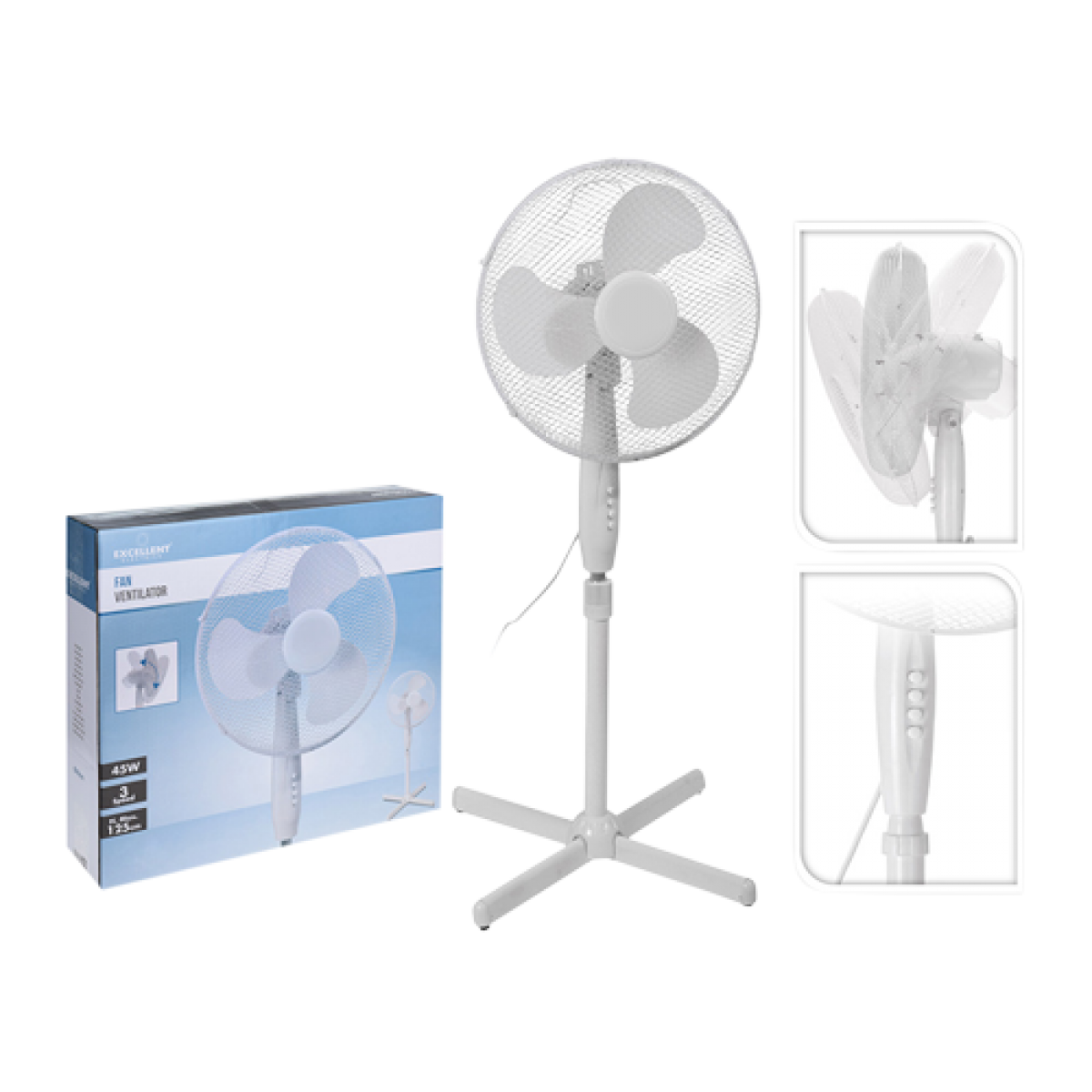 Gulvventilator 40 cm hvid