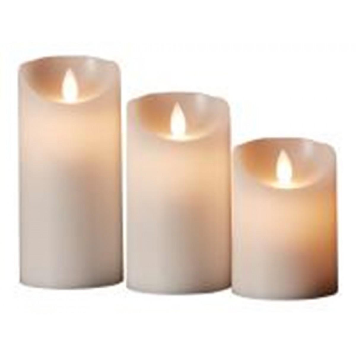 Bloklyssæt Ø7,5 cm 3 stk. bevægelig flamme 10 funktioner hvid