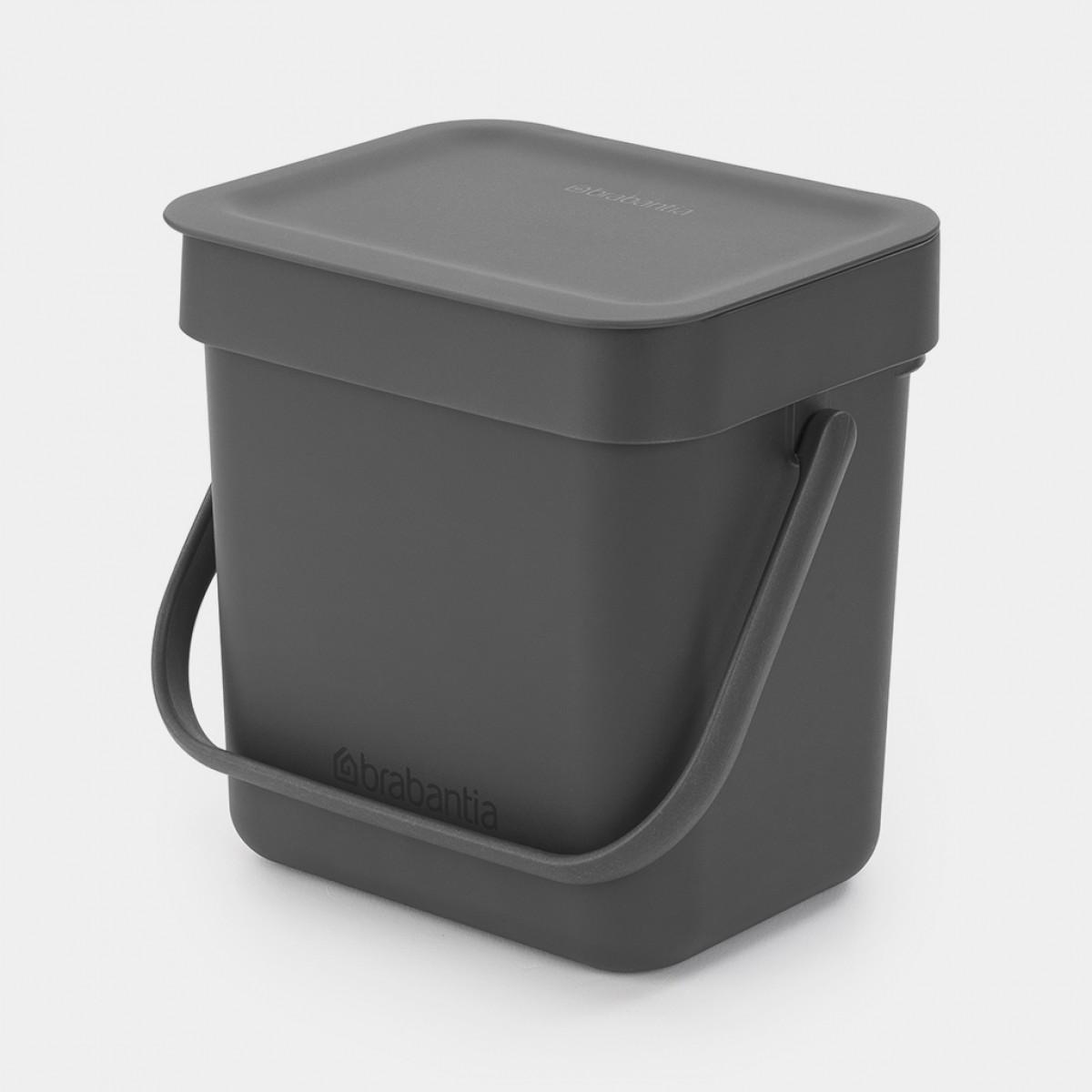 BRABANTIA Affaldsspand m/ låg - affaldssortering.. 3 ltr. gråsort