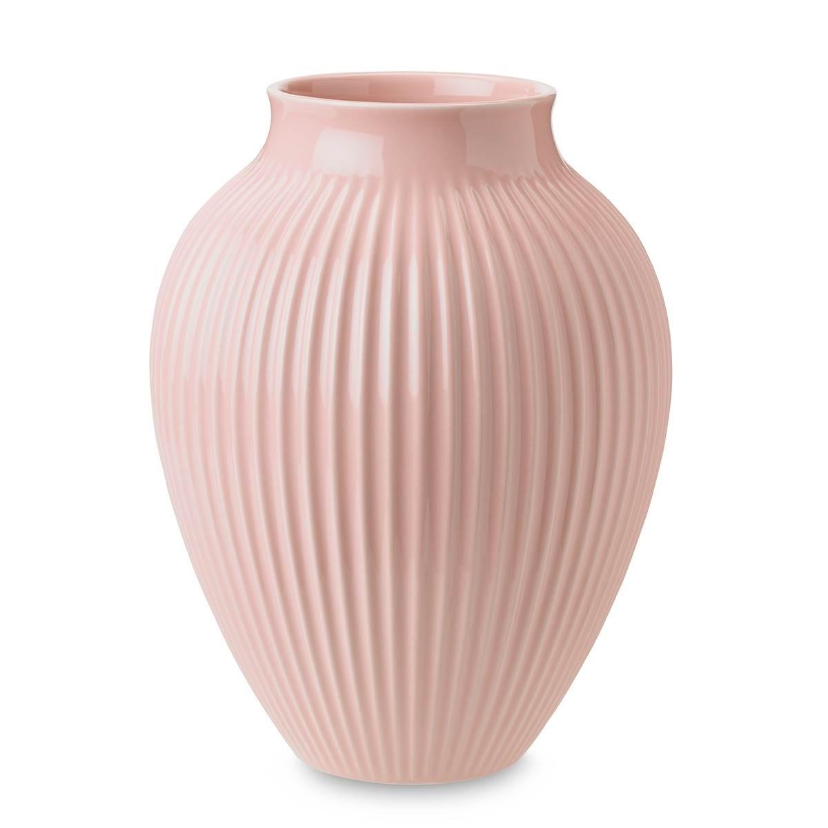 KNABSTRUP Vase 20 cm - rosa med riller