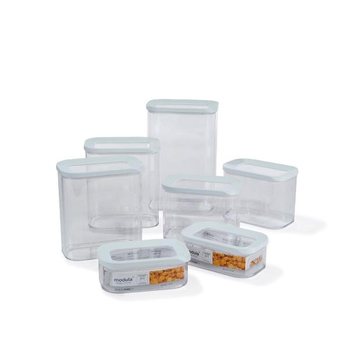 ROSTI MEPAL Modula opbevaringsbokse med låg 7 stk hvid