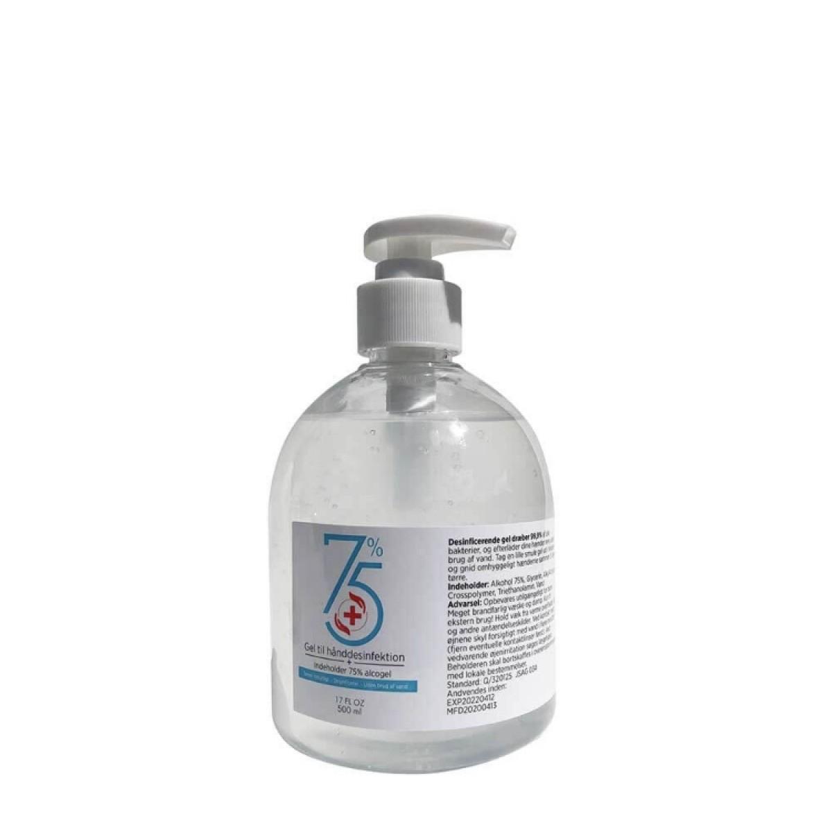 Håndsprit gel 75 % alkohol 500 ml.