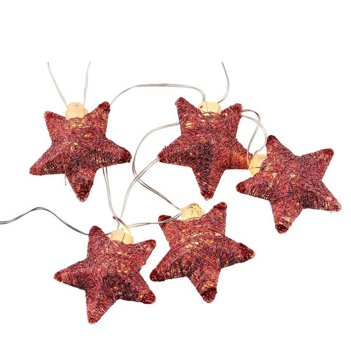 SIRIUS Bolette mini stjerner 16 led metal rød