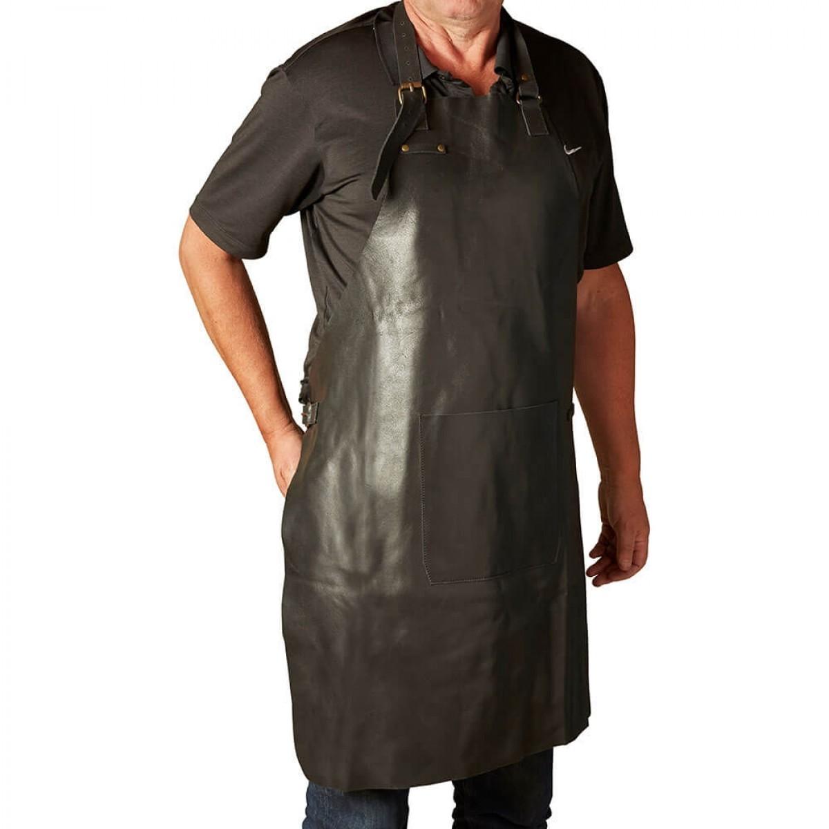DACORE Skindforklæde m/lomme grå/blå