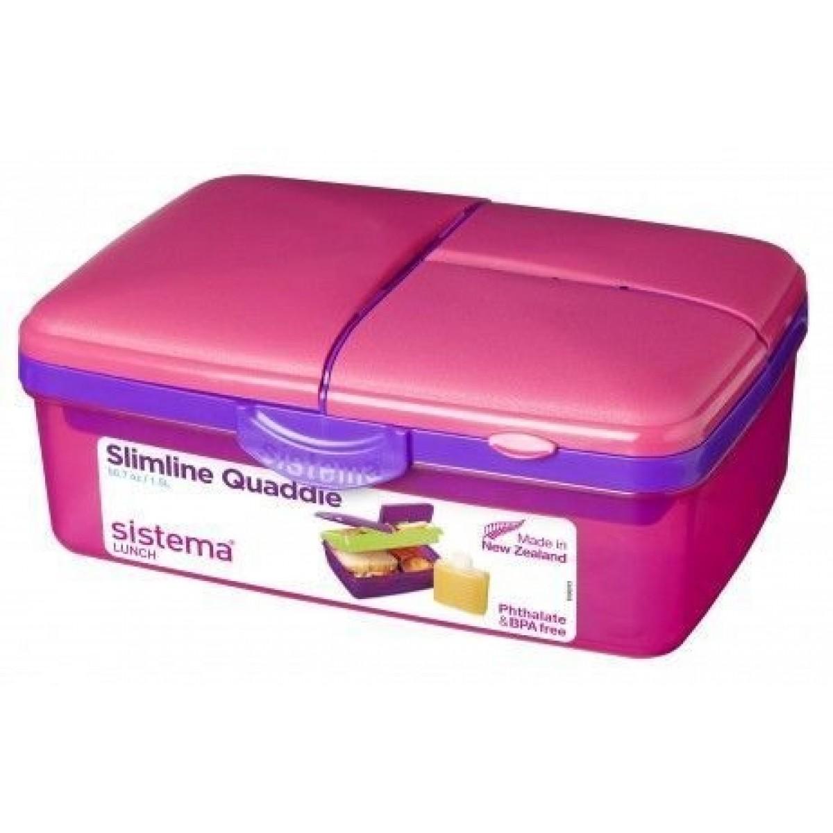 SISTEMA Quaddie slimline madkasse lyserød 1,5 ltr.