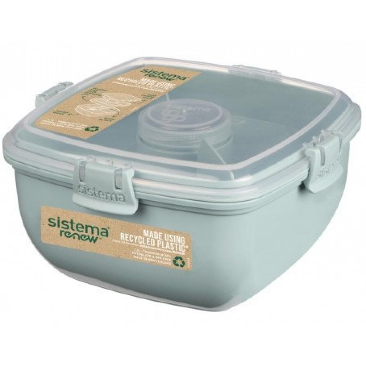 SISTEMA Salatboks med inddeling og bestik renew - grøn