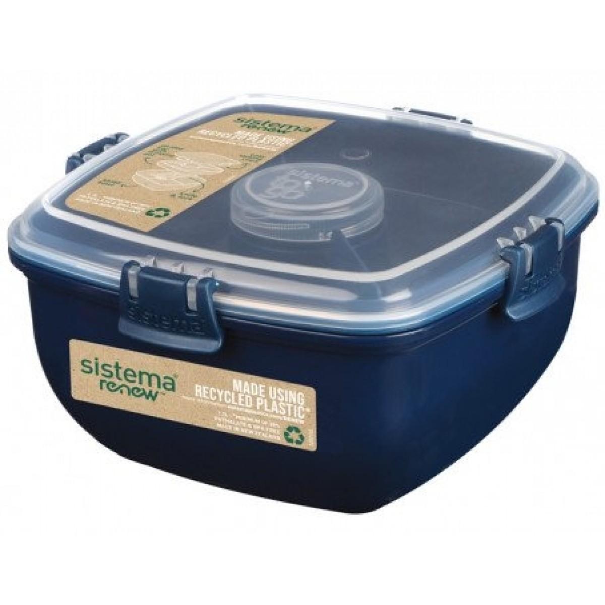 SISTEMA Salatboks med inddeling og bestik renew - blå