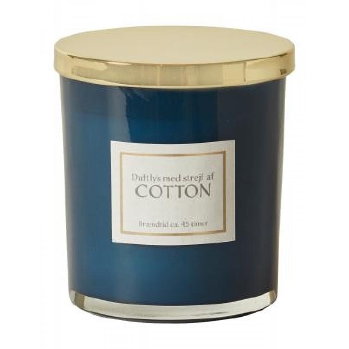 DACORE Duftlys i blåt glas - cotton