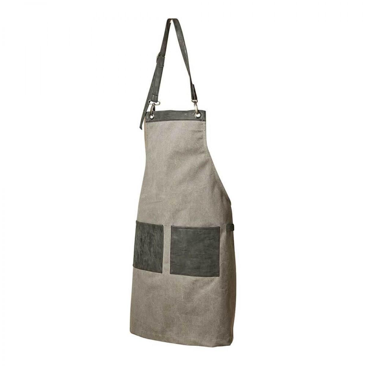 DACORE Forklæde kanvas/PU 2 lommer grå