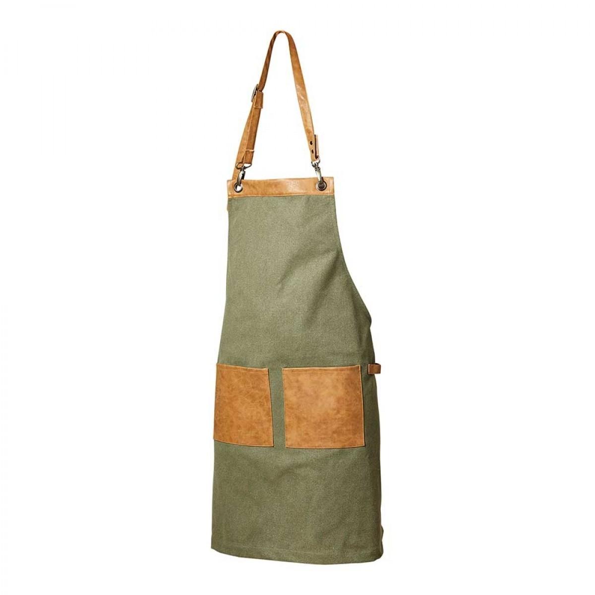 DACORE Forklæde kanvas/PU 2 lommer grøn