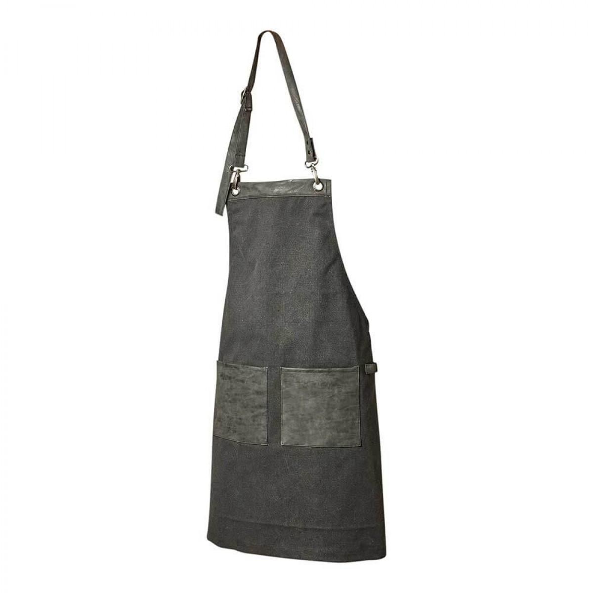 DACORE Forklæde kanvas/PU 2 lommer sort