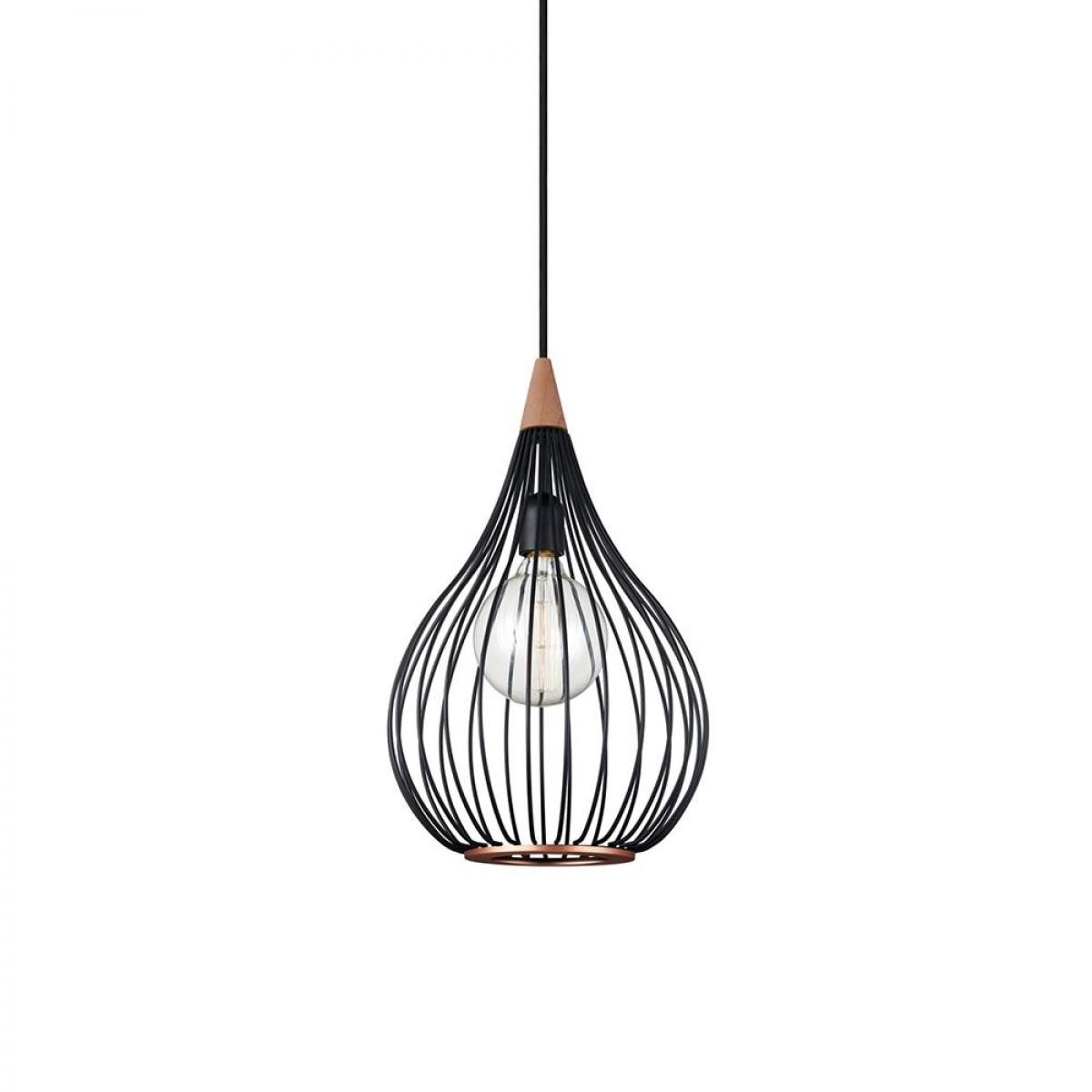 HALO DESIGN Pendel drops ø30 sort/mørkt træ