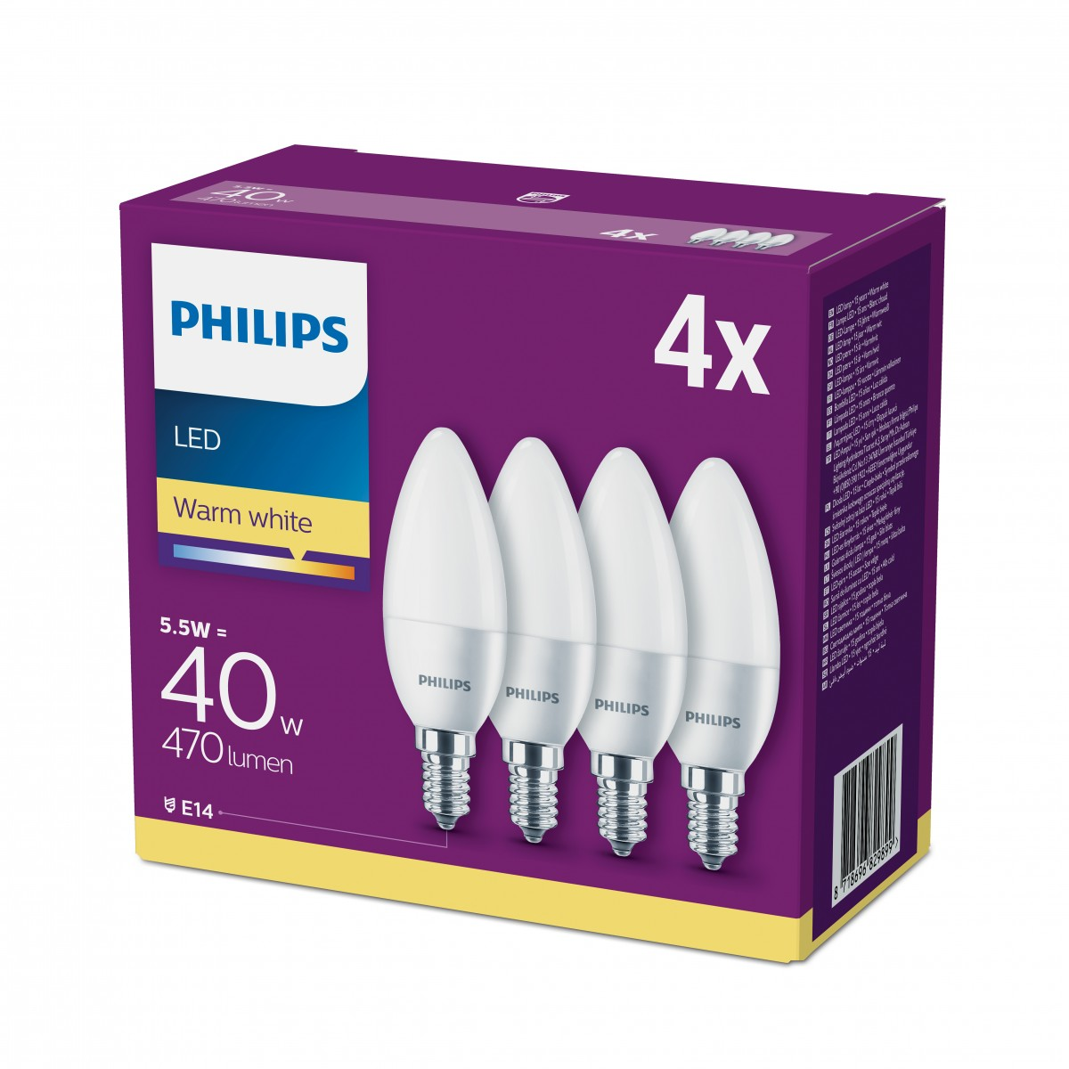 PHILIPS LED 40W kerte E14, varm hvid frostet pakke med 4 stk.