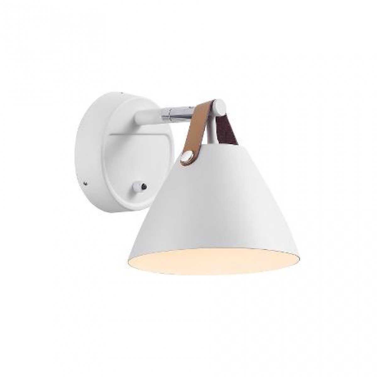 NORDLUX Strap 15 væglampe hvid metal / læder