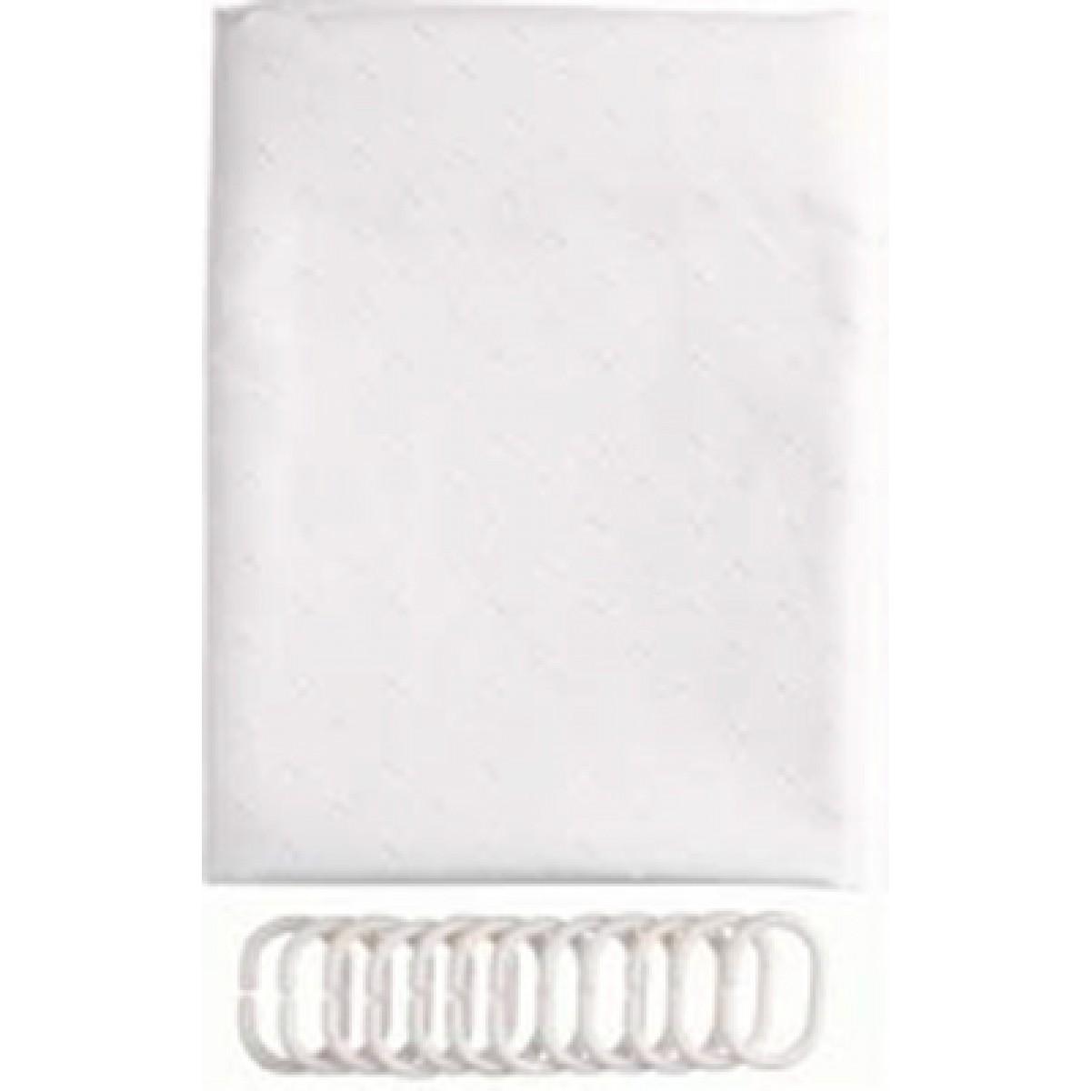 CONZEPT Badeforhæng hvid 180 x 200 cm. tekstil m. ringe