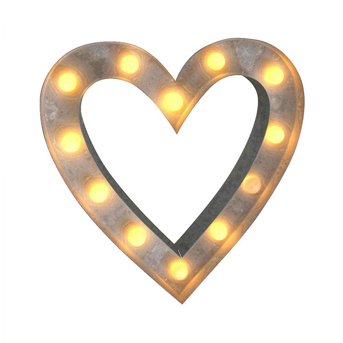 CONZEPT hjerte 30 x 5 x 29 cm. 12 LED