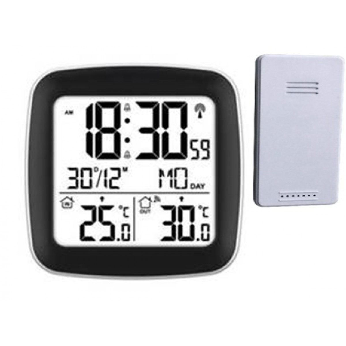 CONZEPT Radiostyret vækkeur m/inde & ude termometer