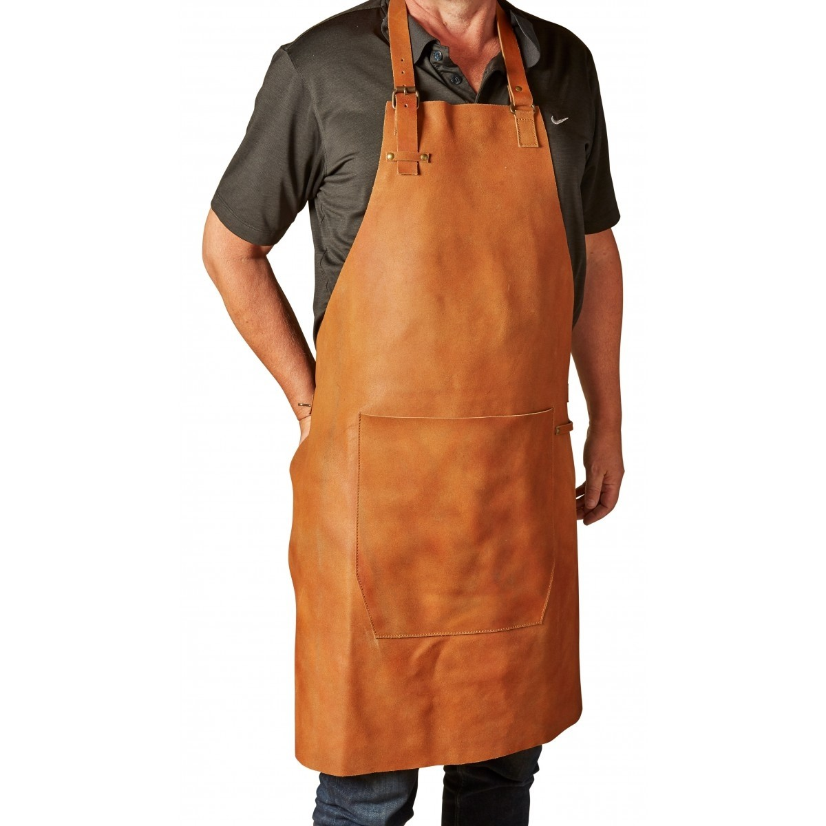 DACORE Skindforklæde m/lomme - lys brun