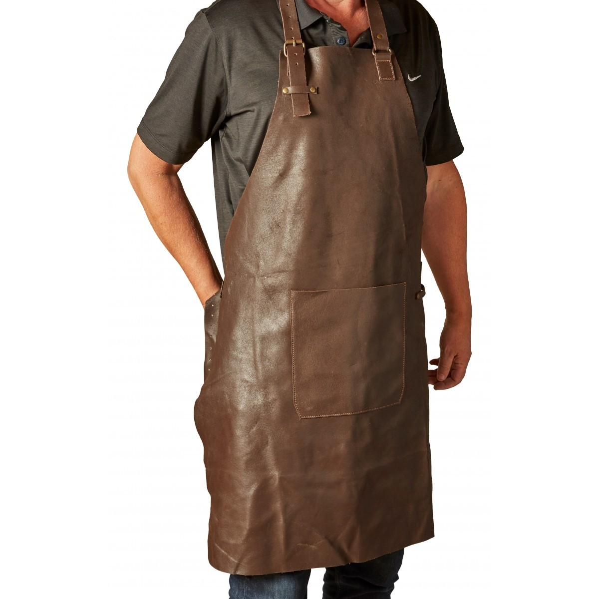 DACORE Skindforklæde m/lomme - mørk brun
