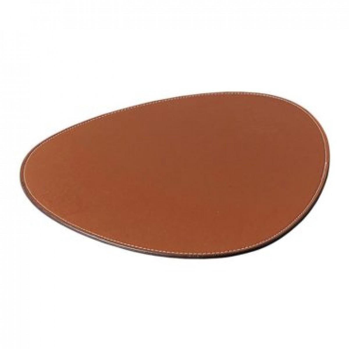 DACORE Dækkeserviet oval lys brun læderlook