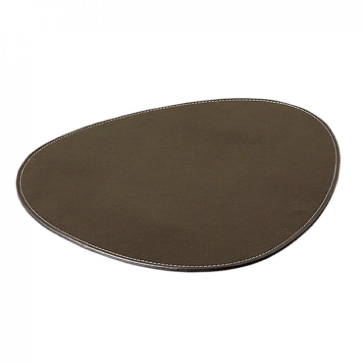 DACORE Dækkeserviet oval mørkebrun læderlook