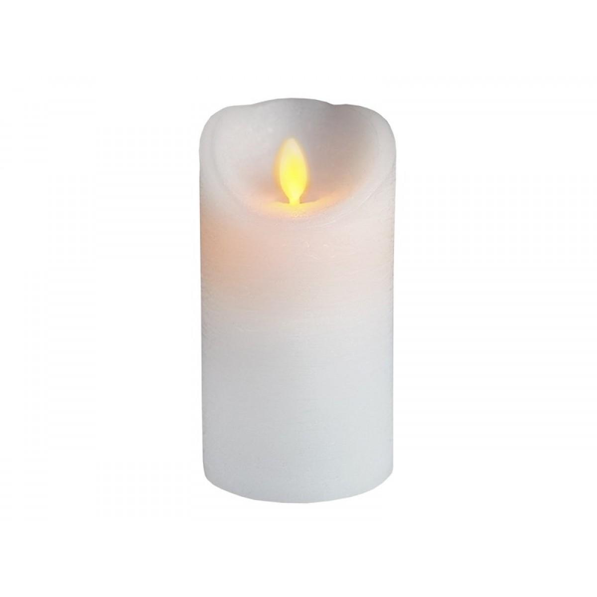 Bloklys Hvid - Bevægelig Flamme 7,5 x 15 cm.