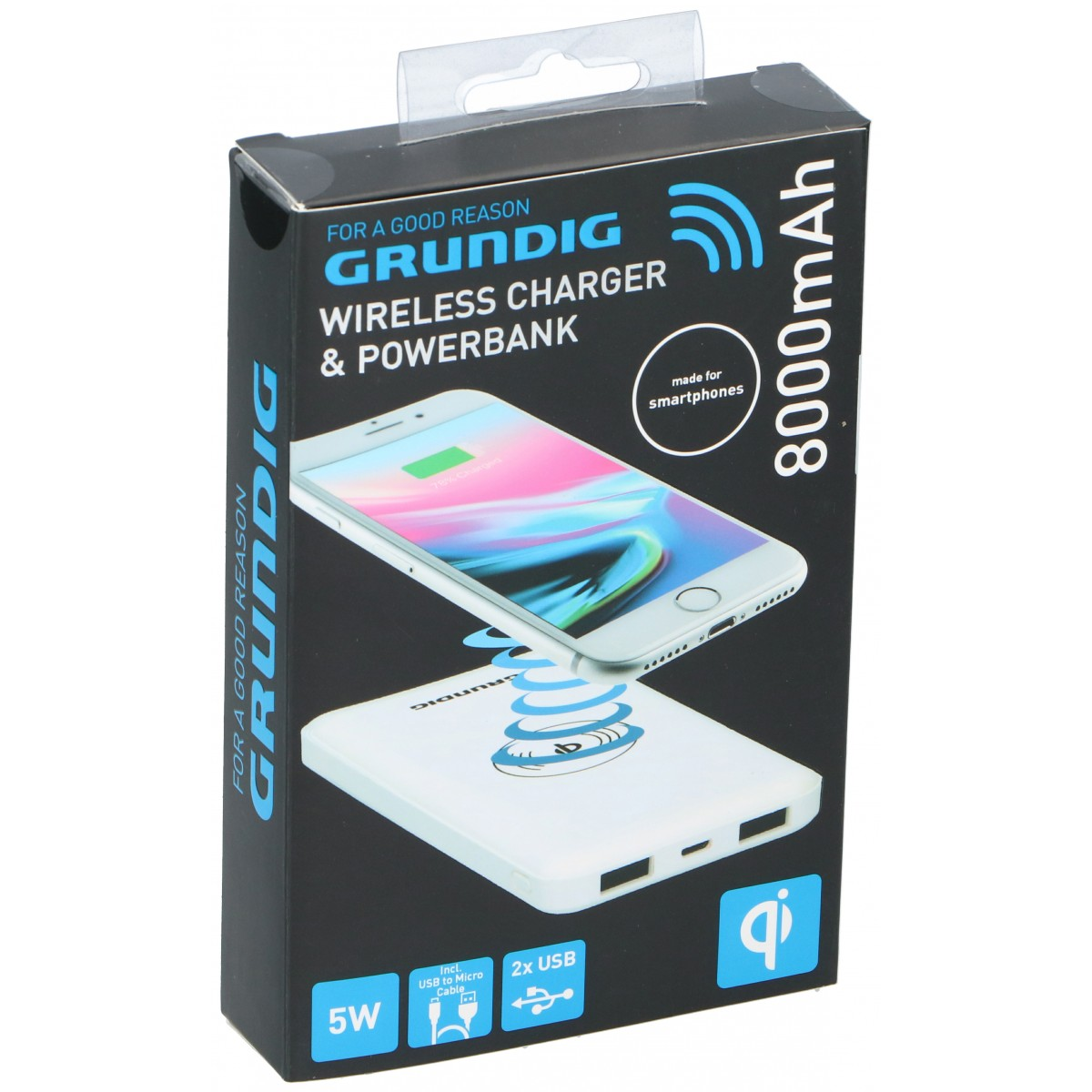 GRUNDIG Powerbank og trådløs opladning 8000 mah