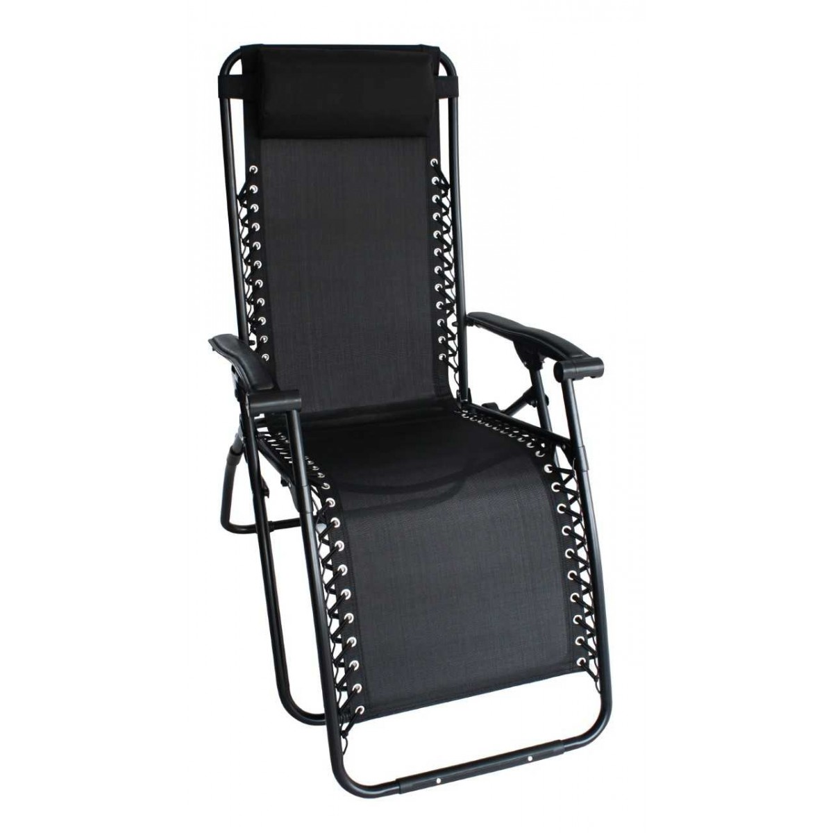 LAZY Relax stol i sort textilene