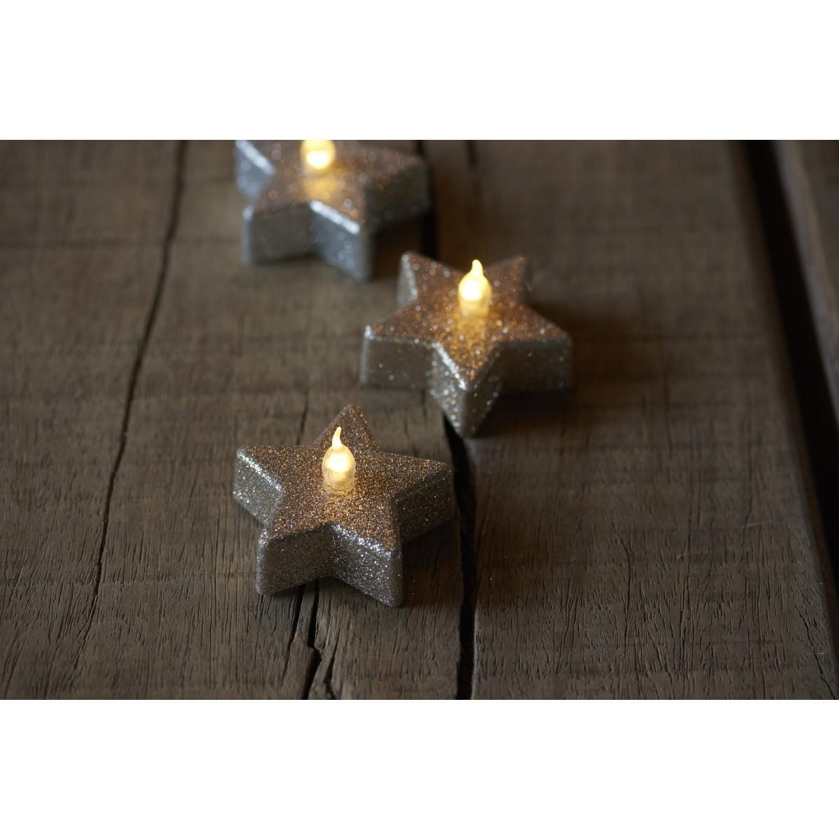 SIRIUS Batterilys line stjerne 6 stk - champagne glitter