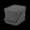 BRABANTIA Affaldsspand m/ låg - affaldssortering.. 6 ltr. gråsort