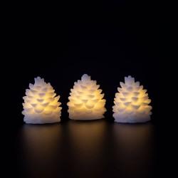 DA´CORE Kogle led lys 6x7 cm m/timer 3 stk - hvid