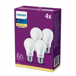PHILIPS LED 60W standard E27 varm hvid frostet pakke med 4 stk.