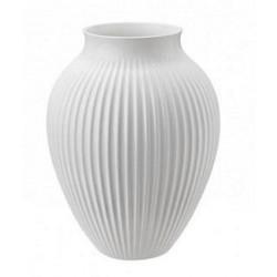 KNABSTRUP Vase 20 cm - hvid med riller
